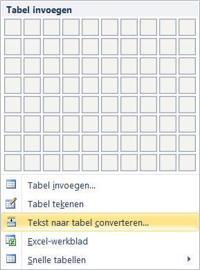 Tabel verwijderen tekst behouden word
